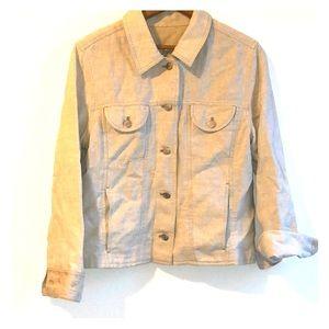 J. JILL Linen Blend Jean Style Embroidered Jacket